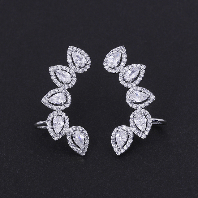 Famous Fashion 2 Colors Option Jet Black and White Pave Cubic Zirconia Teardrop Ear Wrap Climber Cuff Earrings