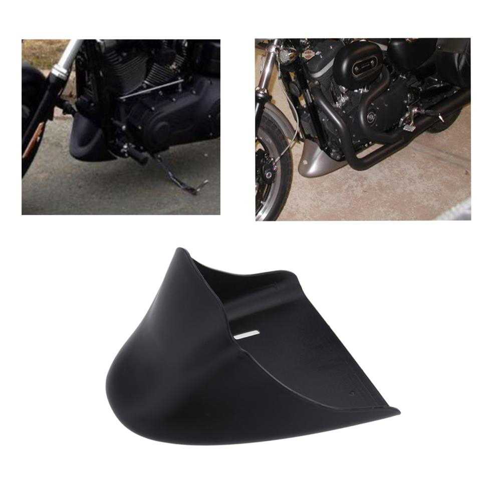 Black Front Chin Spoiler Mudguard Cover + Metal Bracket For 2004-2014 Harley Sportster XL 883 883C 1200 1200C 05 06 07 08 09 10 xyivyg motorcycle chin fairing front spoiler for harley sportster 1200 883 low xl1200l forty eight 2004 2014