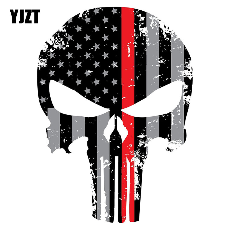 YJZT 10CMX14CM Punisher Red Line Skull Tattered Subdued Us Flag Funny Personality Decals Car Stickers C1-6010
