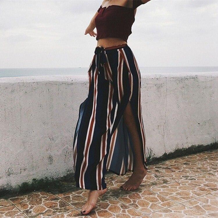 2019 Ladies High Waist Boho   Pants   Striped Loose   Wide     Leg     Pants   Sashes Womens Casual Beach Trousers