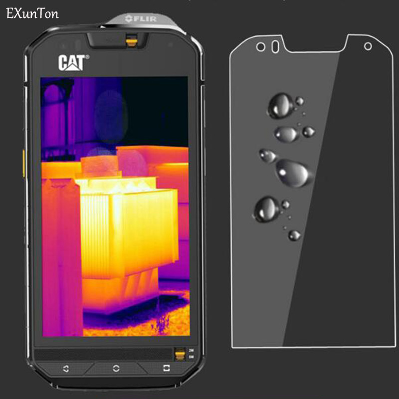 EXUNTON 2PCS For Caterpillar <font><b>Cat</b></font> S60 <font><b>S61</b></font> S41 9H Hardness 2.5D PremiumTempered Glass Screen Protector Protective Film New Model image