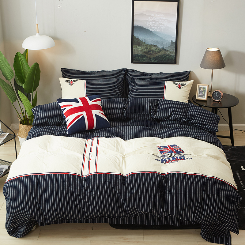 2018 Embroidered Luxury Bedding Set wash Cotton 4pcs King Queen Size British Style Bed Set Duvet Cover Bed sheet set2018 Embroidered Luxury Bedding Set wash Cotton 4pcs King Queen Size British Style Bed Set Duvet Cover Bed sheet set