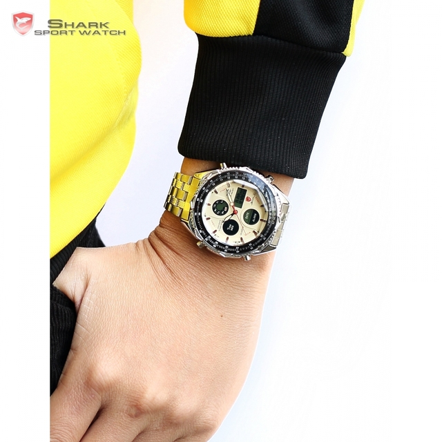 Luxury Leather Box SHARK Sport Watch Mens Watches Top Brand Dual Time Day Steel Band /SH109-112 4