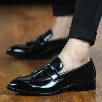 designer man tassel mens shoes brown luxury brand loafer ballet flats pointed toe male footwear 2017 oxford dress shoes for men