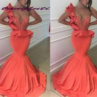 Beautiful Mermaid Prom Dresses Beaded Sequined Sweep Train Satin Evening Party Gowns Illusion Prom Dress gala jurken