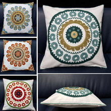 Round Embroidered Home Decor Cushion Covers For Sofa Seat 45x45cm Europe Style Geometric Floral Canvas Cotton Throw Pillow Cases
