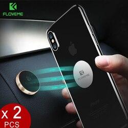 Floveme suporte magnético do telefone do carro [2 pacote], suporte universal da montagem do carro do suporte do telefone do suporte do ímã do metal da etiqueta da parede