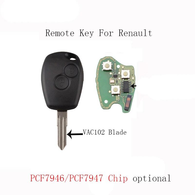 2 кнопки дистанционного ключа автомобиля для Renault Megane Modus Clio Kangoo Logan Sandero чипа PCF7946/PCF7947 дополнительно