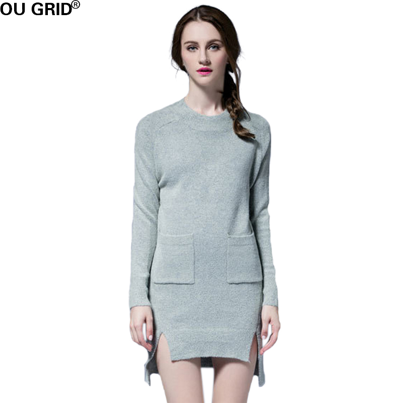 Autumn Winter Gray Wool Knitted Sweater Dress 2016 New Arrival Women Full Sleeve Asymmetrical High Quality