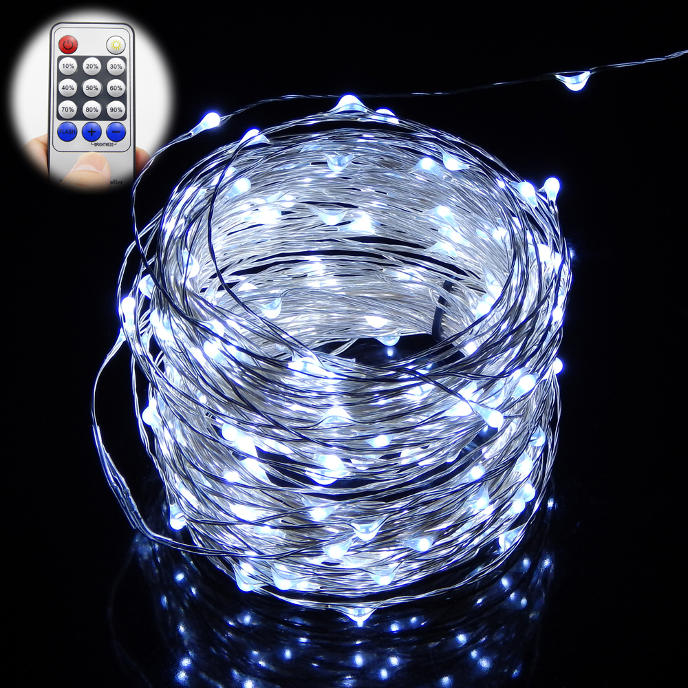 ФОТО 500LED 165Ft 50M Silver Wire Led String Lights Decoration Garden Christmas Starry Lights 12V2A Adapter Remote Controller Dimmer