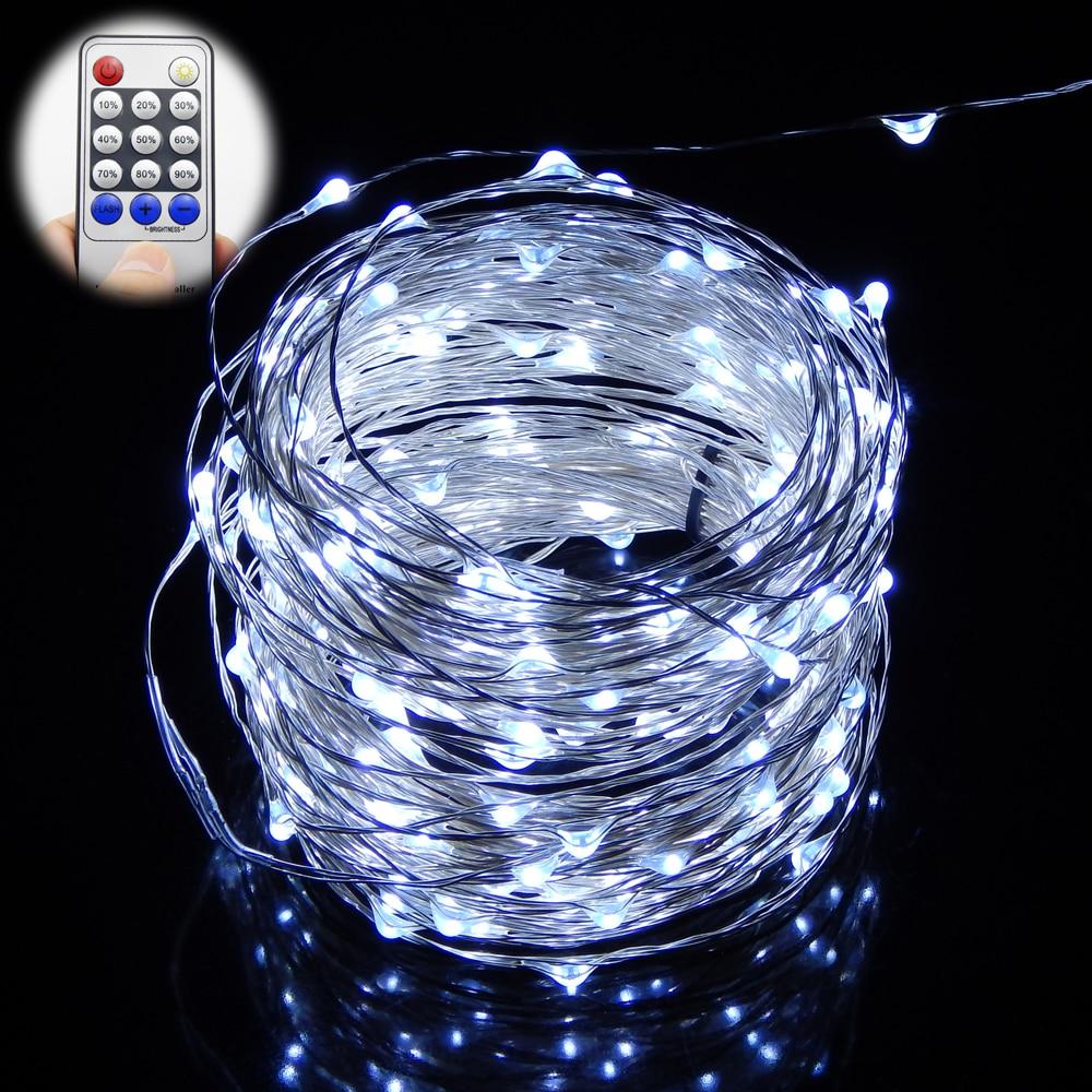 Warm white light 20m 30m 50m 200 300 500 leds silver wire led string light starry lights power ...