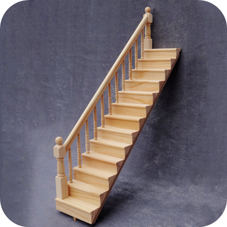112 diy miniature doll house dollhouse furniture wooden stairs left side handrail doll furniture - Wooden Stairs