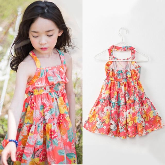 New fashion little girls dresses summer 2018 kids floral print dresses for girls dress age size ...