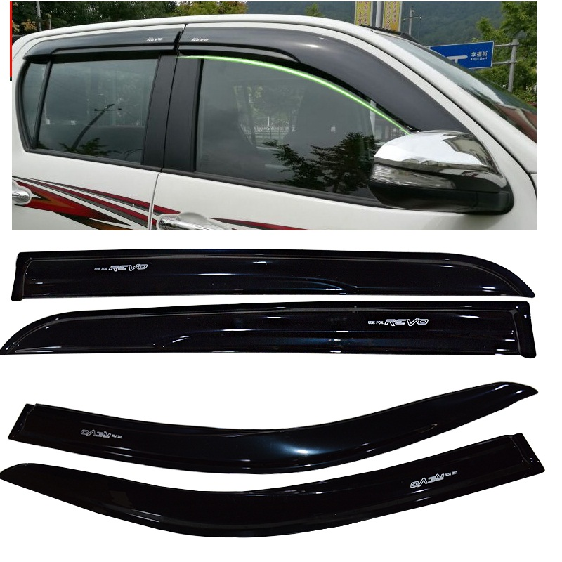 2015-2017 Car Wind Deflector Awnings Shelters For HILUX VIGO REVO Black Window Deflector Guard Rain Shield FIT For HILUX REVO for suzuki jimny car window visor wind deflector rain sun visor shield cover abs awnings shelters cover car accessory 2007 2015