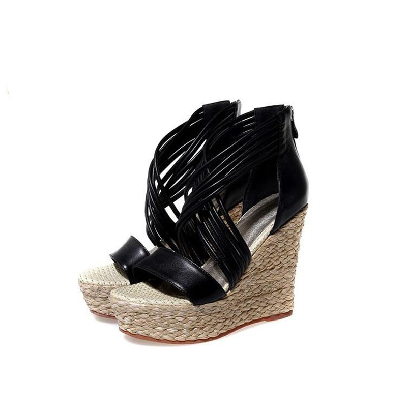 Straw wedge sandals female summer leather peep-toe shoes crossed with a word end of super high heels thick waterproof various straw sacr