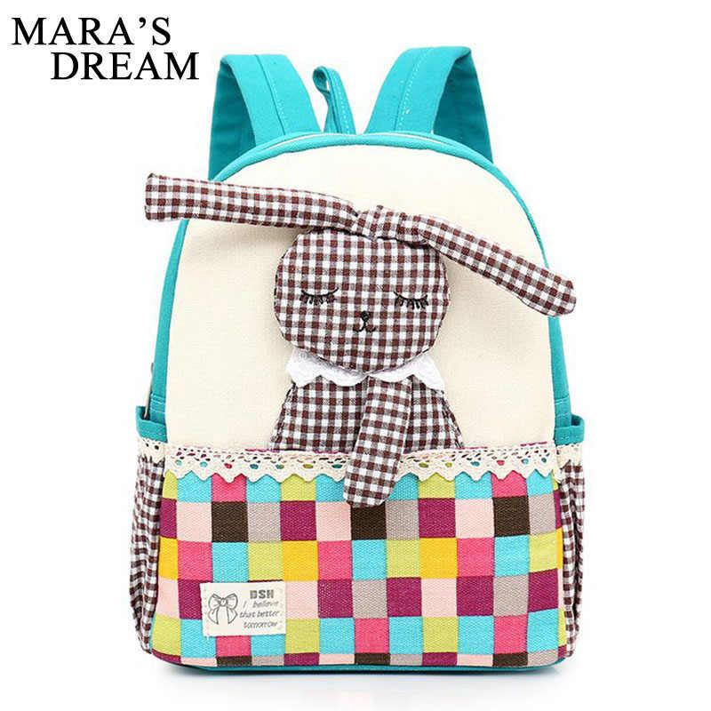 Mara мечта холст Кролик Дети Kawaii Bagpacks обувь для девочек школьные ранцы рюкзаки ранцы подростков милый Bookbag Детская сумка