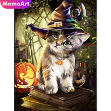 MomoArt Diamond Painting Halloween Embroidery Full Square Rhinestone Mosaic Cat Home Decoration