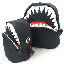 ФОТО new casual parent-child children mini backpack rucksack school bag travel backpack cute shark style for teenage child