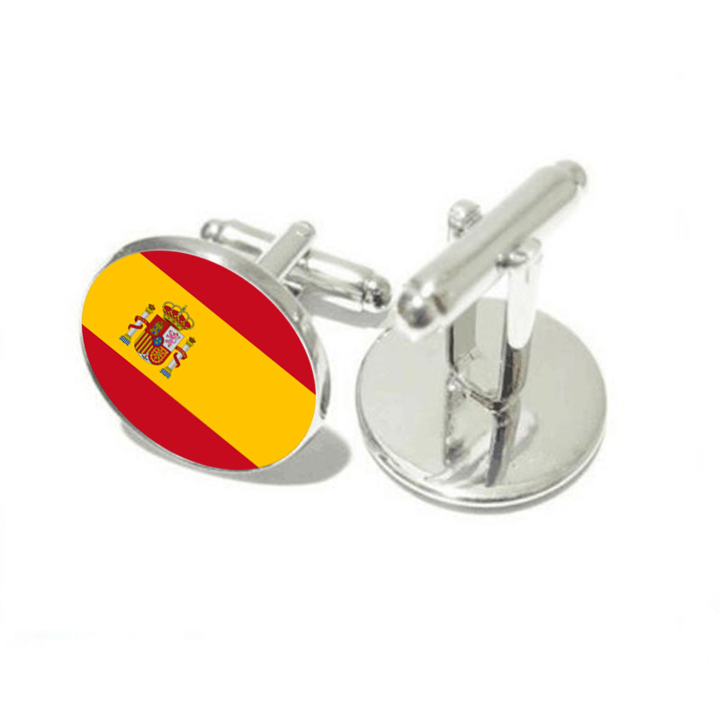 DoreenBeads Alloy Silver Fashion Cufflinks Round Spain Flag Pattern Creative Personality Gift For Men Cuff Link ,1 Pair