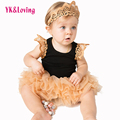 Cotton Black Long Sleeve Girl Rompers Princess Baby Girls Tutu Skirt Clothes Sets 3pcs Newborn Jumpsuit Infant Clothes 0-2years