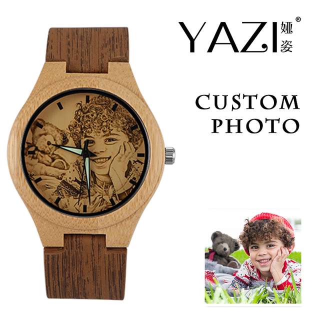 YAZI Personlized Wooden Watch Your Own Photo Watch for Men Unique Bamboo Wood wo