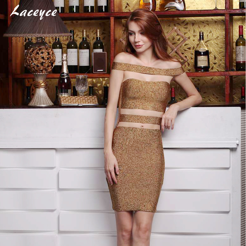 d6945c6f1747 Laceyce 2018 Women Runway Bandage Dress Khaki Brown Off Shoulder Cut Out  Sexy Party Khloe Kardashian Dress Dropshipping-in Dresses from Women s  Clothing on ...