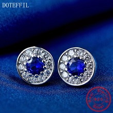 100% Sterling Silver Earrings Charm Women Fashion Blue Zircon 925 Luxury Jewelry
