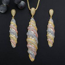 ModemAngel Luxury WaterDrop Geometry AAA Cubic Zirconia Necklace Earring Set Dress Engagement Party Jewelry