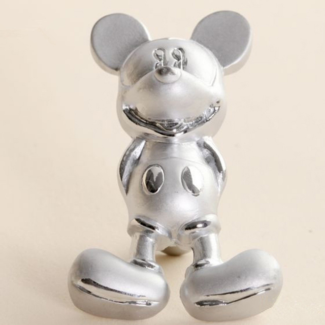 Cartoon Mickey Kids Bedroom Furniture Cabinet Drawer Knobs Pulls Silver Finished Closet Handles Pack of 1 Free Shipping