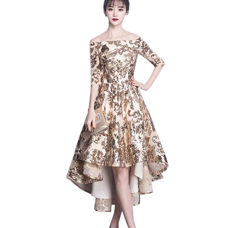 Асимметричный золото Блёстки Для женщин для торжеств вечерние платье 2018 сезон: весна–лето новый сексуальный шнуровка Длинные платья женщи