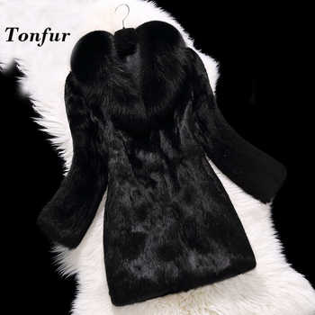 Luxury Classical 100% True Real Rabbit Fur Overcoat Full Pelt Natural Fur Coat with Fox Fur Collar Customize Plus size tbsr100 - DISCOUNT ITEM  46% OFF All Category