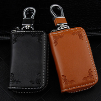 Genuine Leather Car Key Cover Case For Peugeot 207 307 407 Ford Focus 2 3 Volvo