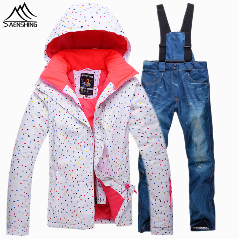 SAENSHING Ski Suit Female Super Warm Skiing Snowboarding Suits Women Waterproof Ski Jacket Snowboard Pants Breathable Snow Suits brand gsou snow technology fabrics women ski suit snowboarding ski jacket women skiing jacket suit jaquetas feminina girls ski