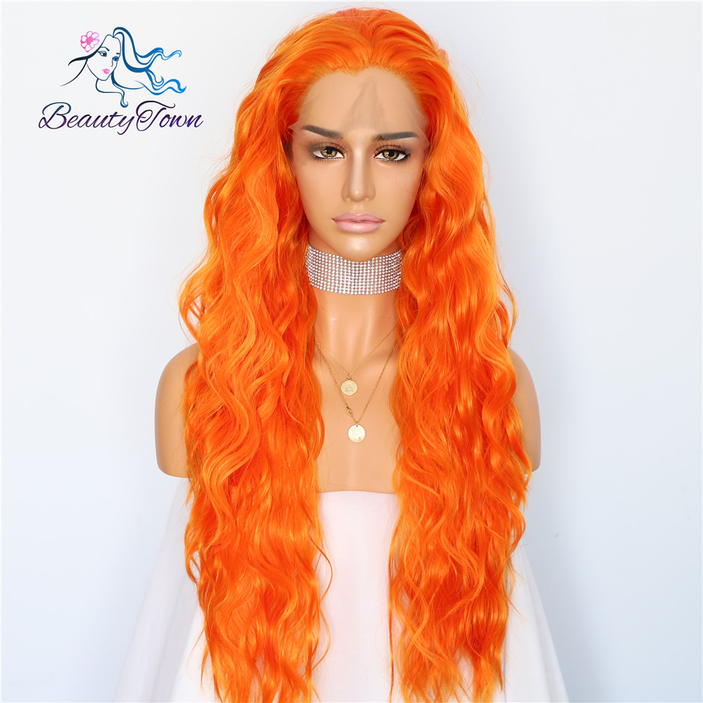 BeautyTown Orange Color Natural Wave Silk Hair Halloween Women Wedding Party Daily Makeup Present Synthetic Lace