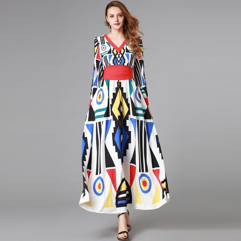 Haute qualité 2019 nouveau designer mode piste Maxi robe femmes à manches longues col en v géométrique imprimé Vintage longue robe-in Robes from Mode Femme et Accessoires    1