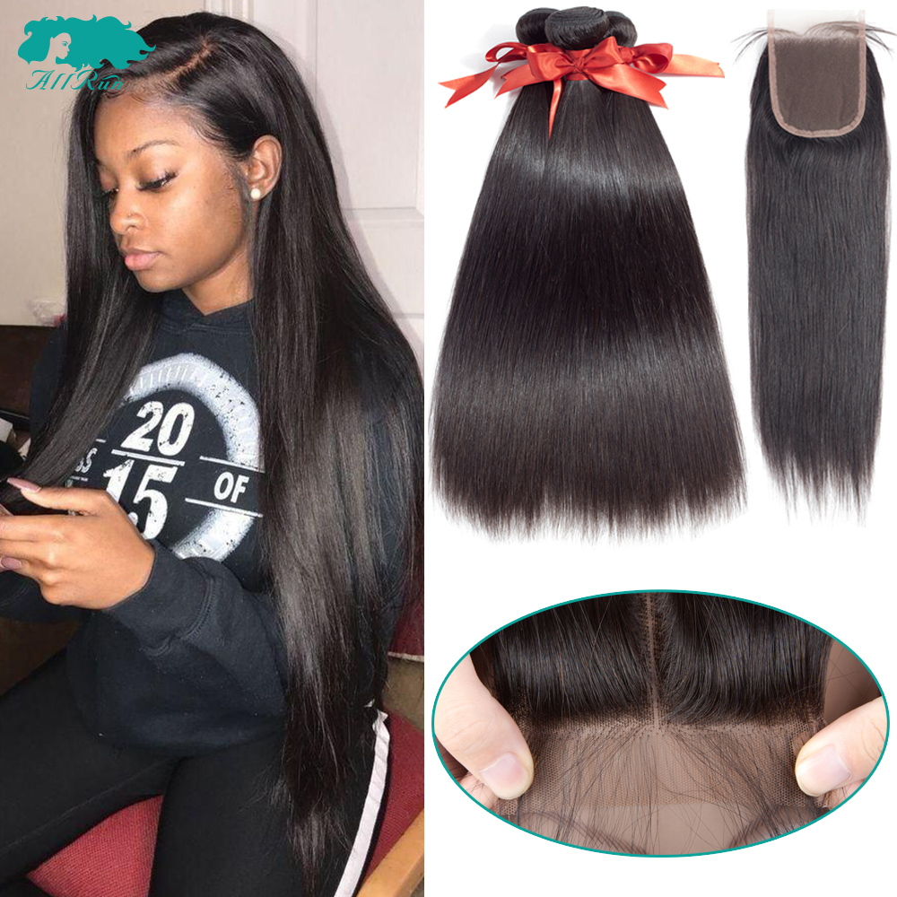 Brazilian Straight Hair Bundles With Closure 2/3 Bundles 100% Human Hair Weave Bundles With Closure Brazilian Hair Extensions(China)