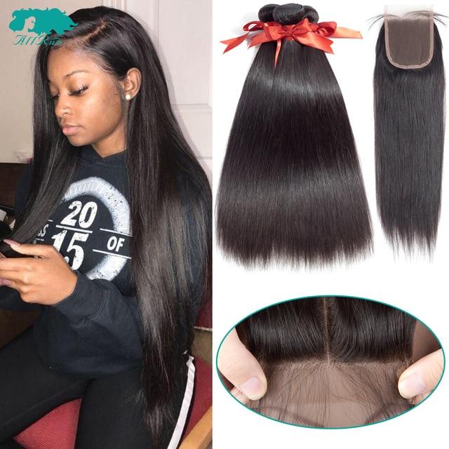 Paquetes de pelo lacio brasileño con cierre 2/3 paquetes de extensiones de cabello humano 100% con cierre brasileño
