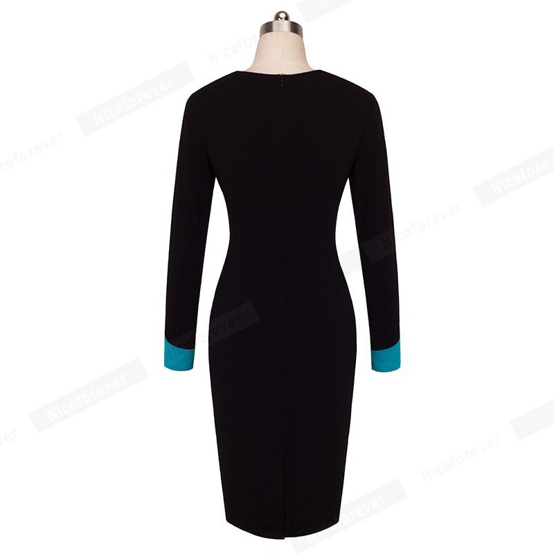 Women Elegant Formal Work Office Business Patchwork Pencil Dress Casual ColorBlock Contrasting Sheath Fitted Bodycon Dress HB343