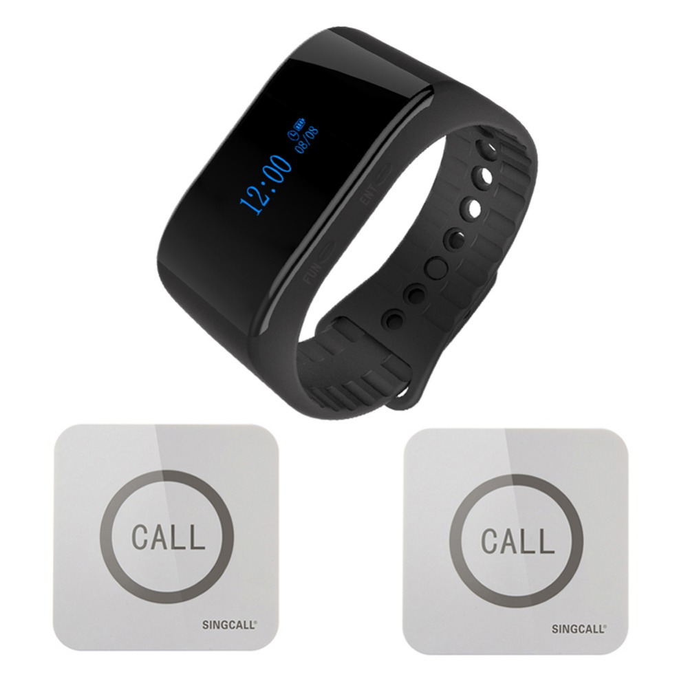 SINGCALL.Wireless nurse calling system watch wireless calling receiver waiter caller 1 smart watch pager with 2 touchable bells one set wireless system waiter caller bell service 1 watch wrist pager with 5pcs table customer button ce passed