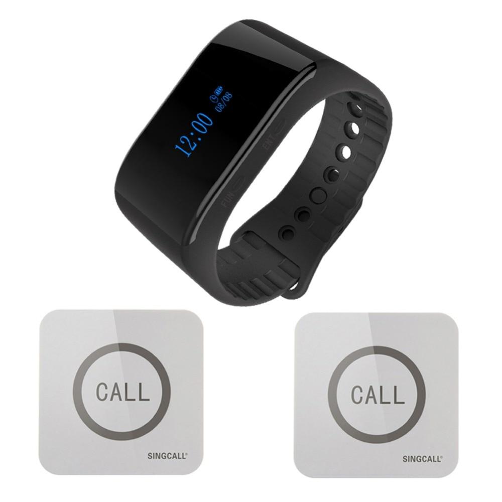 SINGCALL. système d'appel infirmière sans fil regarder récepteur d'appel sans fil serveur appelant 1 téléavertisseur de montre intelligente avec 2 cloches touchables