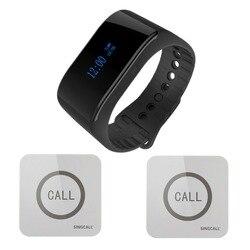 Singcall. wireless pflegernotrufsystem uhr drahtlose aufruf empfänger kellner anrufer 1 smart watch pager mit 2 berührbaren glocken