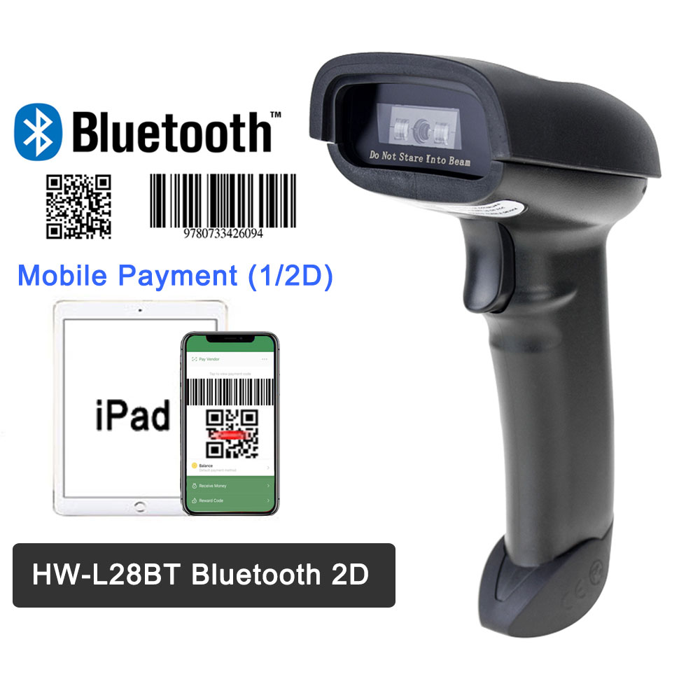 F20 Portable Barcode Scanner And HW-L28BT Bluetooth 1D/2D QR Bar Code Reader PDF 417 For iOS Android iPad 2000mAh(China)