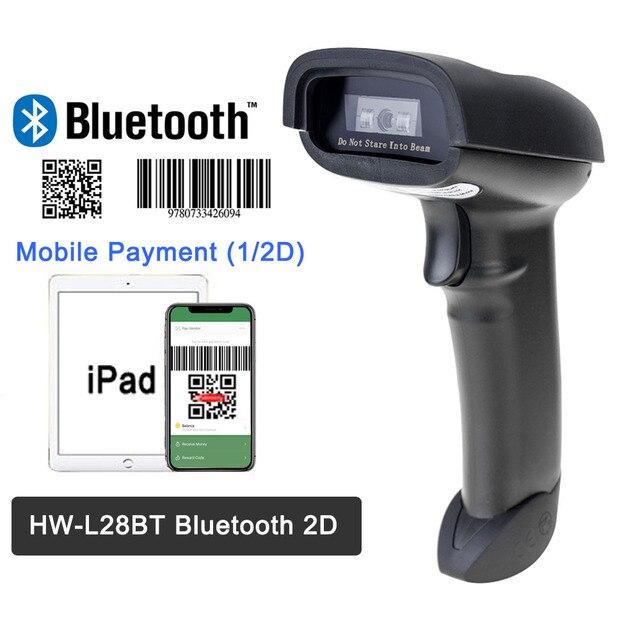 Escáner de código de barras portátil F20 y lector de código de barras HW-L28BT Bluetooth 1D/2D QR PDF 417 para iOS Android iPad 2000 mAh