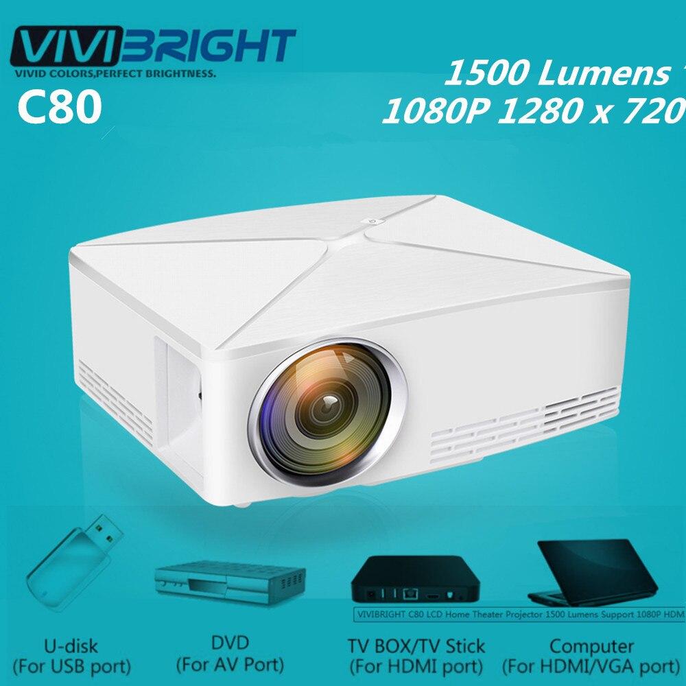 VIVIBRIGHT C80 LCD projecteur Home cinéma 1500 Lumens 1280x720 P support PC/ordinateur Portable/tablette/smartphone/USB Portable projecteur