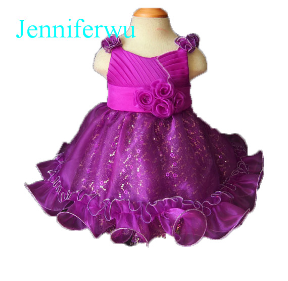purple sequins baby girl pageant dress little girl party dresses prom clothes 1T-6T E034 купить