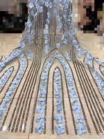 African Lace Fabric 2018 High Quality Lace Embroidery Fabric With 3d Flower French Lace Fabric with beaded & sequins x4