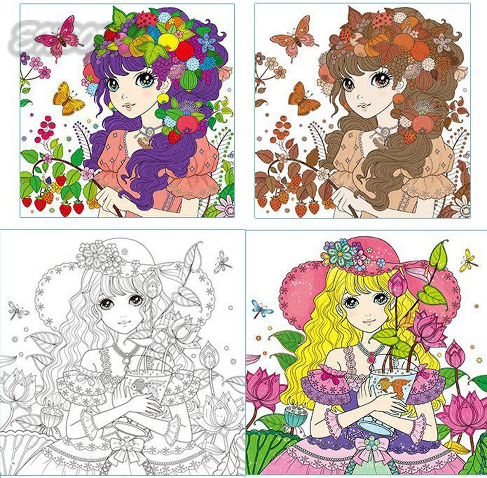 Aliexpress Buy Princess Secret Garden Coloring Book Children Adult Relieve Stress Kill Time Graffiti Painting Drawing Antistress Books From