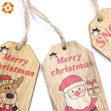 5pcs Creative Christmas Pendant Ornaments DIY Wood Crafts Xmas Tree Ornament
