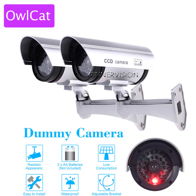 2 PC Security CCTV Indoor Outdoor Dummy Camera Emulational Bullet Waterproof Fake Camera Home Security Blinking IR LED image