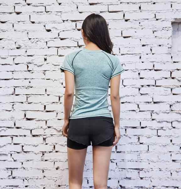 المرأة ملابس رياضية تي شيرت تشغيل اليوغا اللياقة البدنية الصالة الرياضية تي شيرت